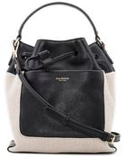 Isaac Mizrahi New York Lileth Linen And Leather Drawstring Bag - Lyst
