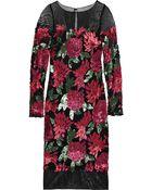 Badgley Mischka Sequined Mesh Dress - Lyst