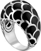 John Hardy Naga Silver Enamel Dome Ring With Black Enamel - Lyst