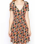 Asos Skater Dress In Floral Print - Lyst