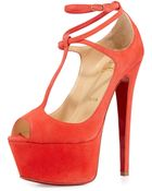 Christian Louboutin Talitha Suede Red Sole Platform Pump - Lyst