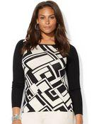 Lauren by Ralph Lauren Plus Geo Patterned Sweater - Lyst