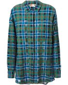 MSGM Plaid Oversize Shirt - Lyst