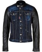 DSquared² Jean Jacket with Leather Sleeves - Lyst