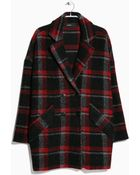 Mango Check Wool-Blend Coat - Lyst