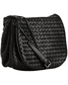 Bottega Veneta Black Woven Nappa Cross Body Flap Bag - Lyst