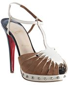 Christian Louboutin Ivory Leather and Suede Zigounette 140 Platform Sandals - Lyst