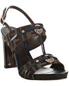 Fendi Cobalt Trim Zucca Canvas Logo Ornament Sandals - Lyst