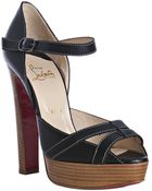 Christian Louboutin Black Leather Quepi Reci 140 Platform Ankle Strap Pumps - Lyst