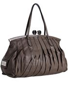 Valentino Taupe Leather Pleated Frame Top Handle Bag - Lyst