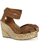 Pedro Garcia Ruth Palm-leaf Wedge Suede Sandals - Lyst