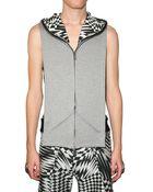 Gareth Pugh Optical Fleece Hooded Vest - Lyst