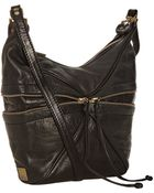 Kooba Black Leather Hunter Zipper Detail Shoulder Bag - Lyst