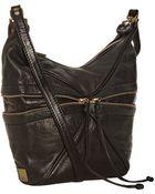 Kooba Black Leather Hunter Zipper Detail Shoulder Bag - Lyst