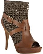 Steven By Steve Madden Cognac Knotted Leather Pokerr Platform Booties - Lyst