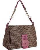 Fendi Mahogany and Purple Zucchino Mamma Studded Shoulder Bag - Lyst