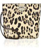 Valentino Leopard-print Calf Hair Wristlet Bag - Lyst