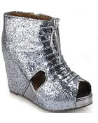 Jeffrey Campbell Maryroks - Pewter Glitter Platform Wedge - Lyst
