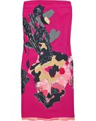 DKNY Sequined Printed Strapless Dress - Lyst