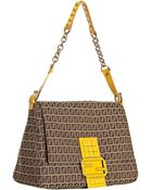 Fendi Mahogany and Yellow Zucchino Mamma Studded Shoulder Bag - Lyst