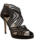 Jimmy Choo Black Leather and Mesh Miles Sandals - Lyst