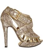 Nicholas Kirkwood 120mm Metallic Embroidered Sandals - Lyst