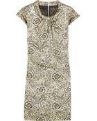 Burberry Prorsum Metallic Cotton-blend Floral Jacquard Dress - Lyst