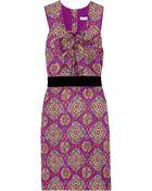 See By Chloé Velvet-waist Printed Silk Dress - Lyst