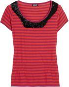 Sonia By Sonia Rykiel Sequin-collar Striped Cotton Top - Lyst
