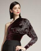 Ralph Lauren Collection Antonia One-sleeve Velvet Top - Lyst