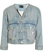 Alexander Wang Foil-print Cropped Denim Jacket - Lyst