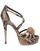 Lila Castellaneta Python Mink and Jewel Detail Pumps - Lyst