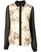 Topshop Contrast Floral Shirt - Lyst