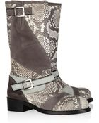 Missoni Python and Suede Biker Boots - Lyst