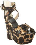 Giuseppe Zanotti Leopard Calf Hair Crisscross Chunky Platforms - Lyst