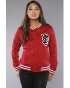 Wesc The Laika Fleece Jacket in Rio Red - Lyst