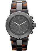 Michael Kors Gunmetal Tortoise Link Watch - Lyst