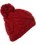 Topshop Cable Pom Beanie - Lyst