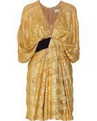 Willow Metallic Ruched Chiffon Dress - Lyst