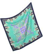 Versace Navy Ornamental Silk Square Scarf - Lyst