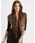 Saint Laurent Silk Leopard Print Scarf - Lyst