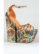 Jeffrey Campbell The For Real Shoe in Blue Orange Snake - Lyst