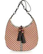 Jimmy Choo Lara Elaphe-trimmed Woven Cord Shoulder Bag - Lyst