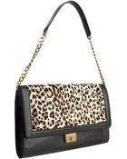 Jimmy Choo Black Leather and Leopard Print Calf Hair Cassie Convertible Clutch - Lyst