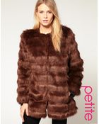 ASOS Collection Asos Petite Stripe Faux Fur Coat - Lyst