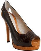 Fendi Mocha Leather Peep Toe Platform Pumps - Lyst