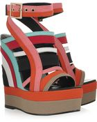 Pierre Hardy Canvas Wedge Sandals - Lyst