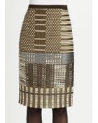 Oscar de la Renta Metallic Embroidered Pencil Skirt - Lyst