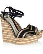 Gucci Cork-wedge Leather Sandals - Lyst