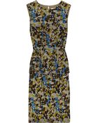 Lela Rose Printed Wool and Silk-blend Peplum Dress - Lyst